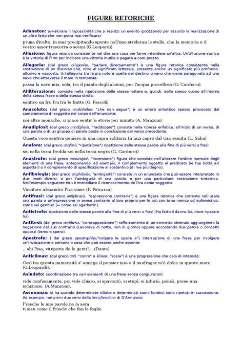 le principali figure retoriche dizionario figure retoriche appunti di italiano docsity