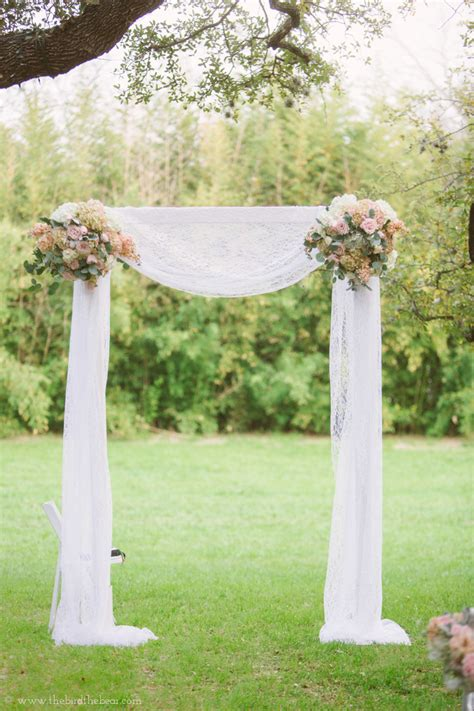 draped wedding arch lace draped ceremony arch bouquets of austin