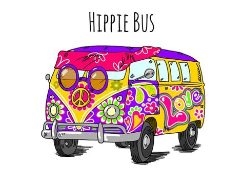 hippie van drawing vw bus clipart cliparts galleries