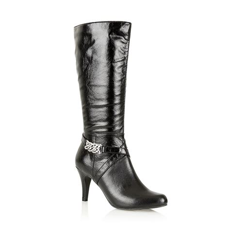 lotus lotus modesty black shiny stretch heeled