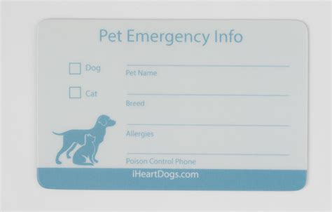 emergency pet ionfo card template pet emergency info card 2 pack iheartdogs