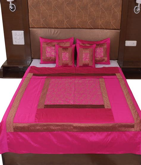 Bed Cover Sprei Murah 1 rajasthani sarees pink silk bed cover buy rajasthani sarees pink silk bed cover at low