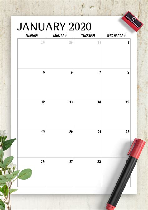 printable minimal monthly calendar