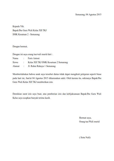 Cara Tulis Surat Sakit by Contoh Cara Membuat Surat Izin Sakit Contoh Z