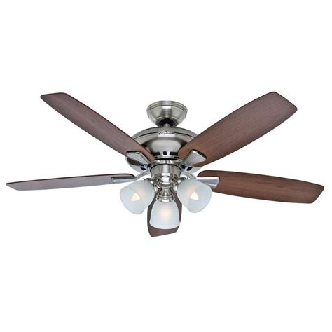 Ceiling Fans With Lights At Lowes Shop Winslow 52 In Brushed Nickel Downrod Or Flush Mount Ceiling Fan With Light Kit At