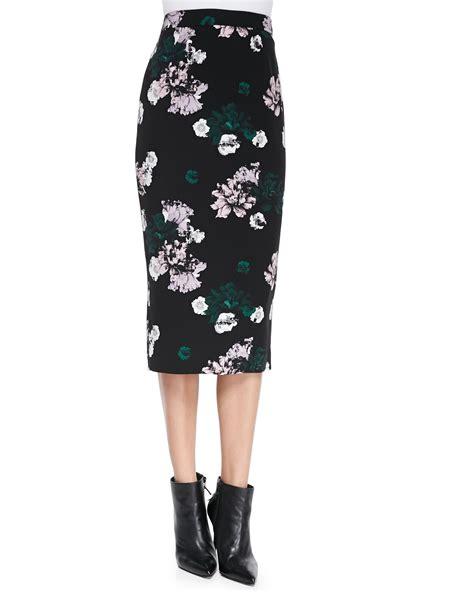 a l c midi floral pencil skirt in black lyst