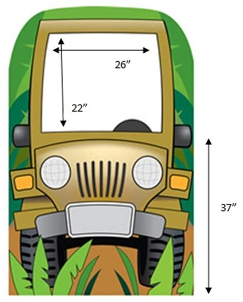 cartoon safari jeep jungle jeep photo cardboard stand in dino rentos studios
