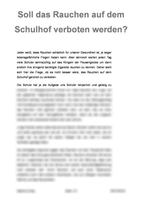 Meinungsrede Schreiben Muster Meinungsrede Soll Das Rauchen Auf Dem Schulhof Verboten Werden Er 246 Rterung