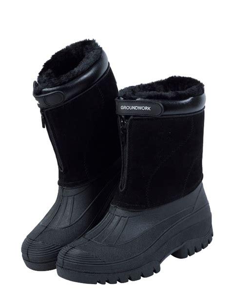 mens fleece lined winter mucker boots zip up equestrian