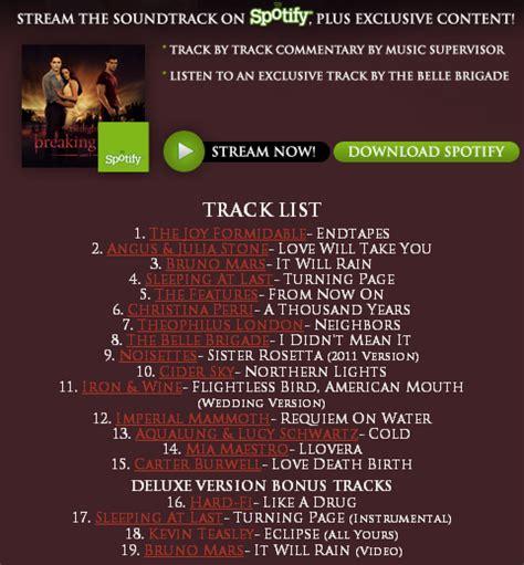 soundtrack list official soundtrack for the twilight saga breaking