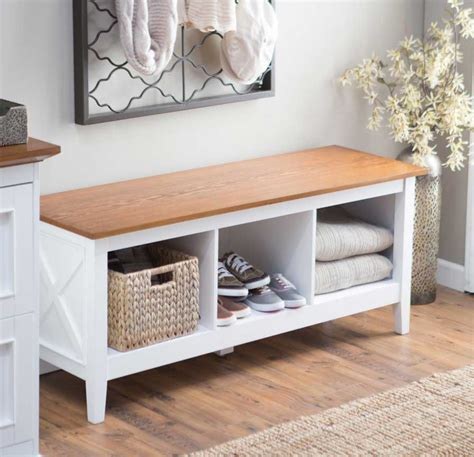 Hallway Storage Bench | white entryway storage bench aspect stabbedinback foyer