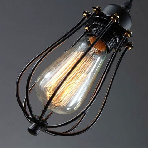 Kiven Vintage Style Pendant Wire Cage Light Industrial Wire Light Fixture