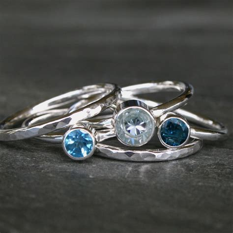 aquamarine stacking ring sterling silver swiss blue topaz