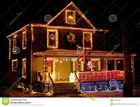 house decorated with lights at rural