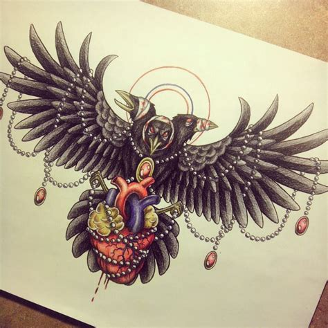 crow tattoo design by myhedhertz on deviantart