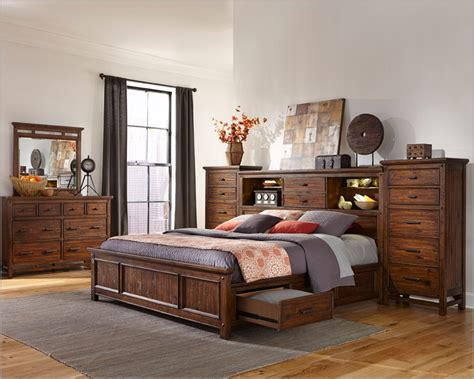 storage bedroom sets intercon storage bedroom set wolf creek inwk br 6190set
