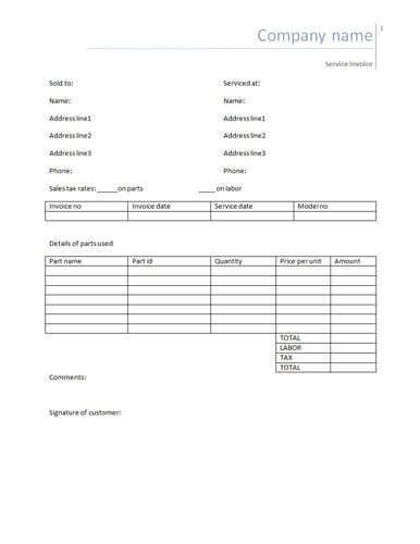 Parts And Labor Invoice Template Free by 25 Free Service Invoice Templates Billing In Word And Excel