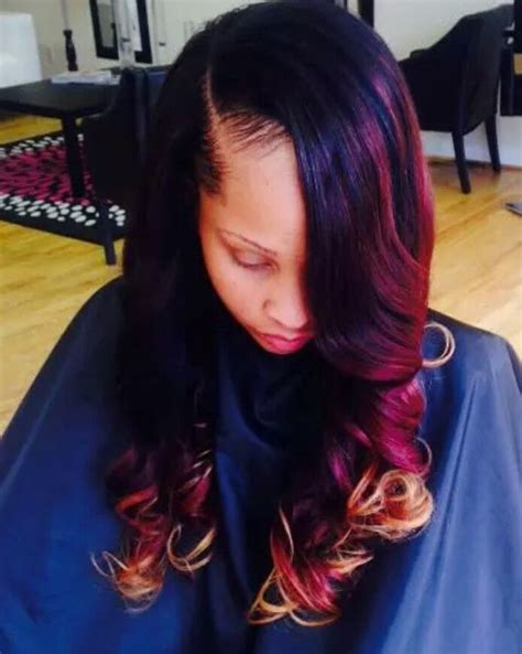 sew in hairstyles brown hair burgundy dip dyed side part sew in hairstyles i love