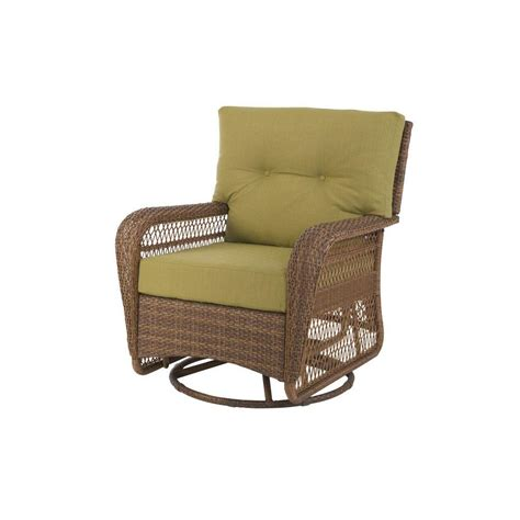 Martha Stewart Living Patio Furniture Cushions Martha Stewart Living Charlottetown Brown All Weather Wicker Patio Swivel Rocker Lounge Chair