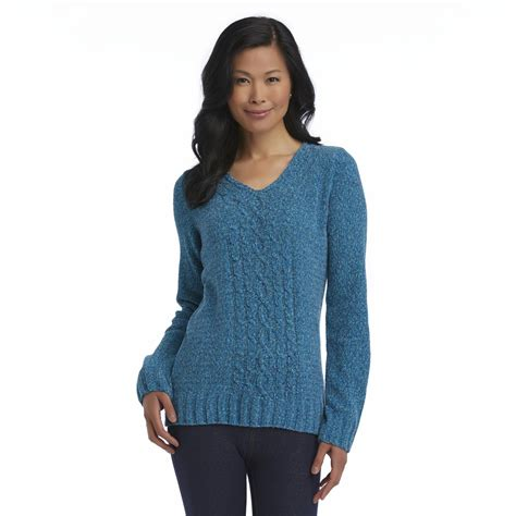 basic editions knit basic editions s cable knit chenille sweater