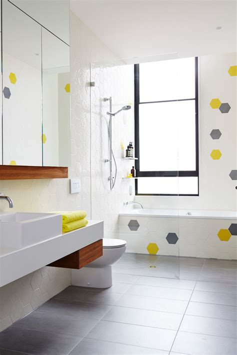 simply bathrooms hinckley classic color combo gray and yellow abode