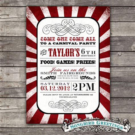 carnival themed birthday invitations vintage carnival theme birthday invitation by