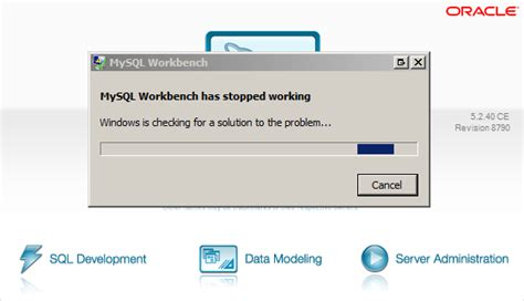 error message coreldraw has stopped working windows 7 resolving mysql workbench has stopped working error