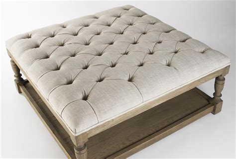 tufted ottoman square square tufted linen natural elm coffee table ottoman