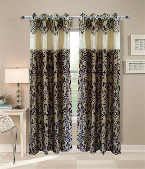 Homefab India Set Of 2 Door Eyelet Curtains Embroidered Clear Shower Curtain With Design