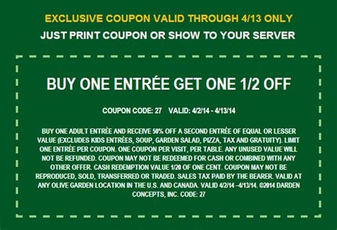 olive garden coupons email olive garden buy 1 get 1 50 off