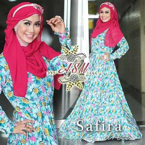 Ayunda Dress Tunik safira blue baju muslim gamis modern