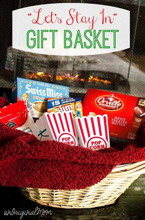 lets stay  gift basket  personalized popcorn tubs unoriginal mom