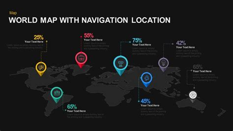 keynote themes location world map with navigation location powerpoint and keynote