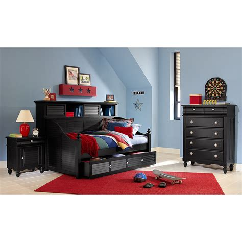 seaside black ii bookcase daybed with trundle american