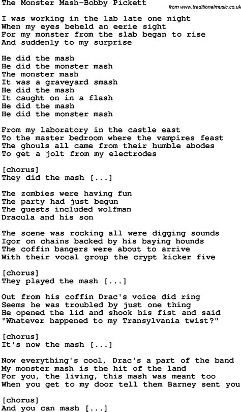 Printable Lyrics Monster Mash | novelty song the monster mash bobby pickett lyrics