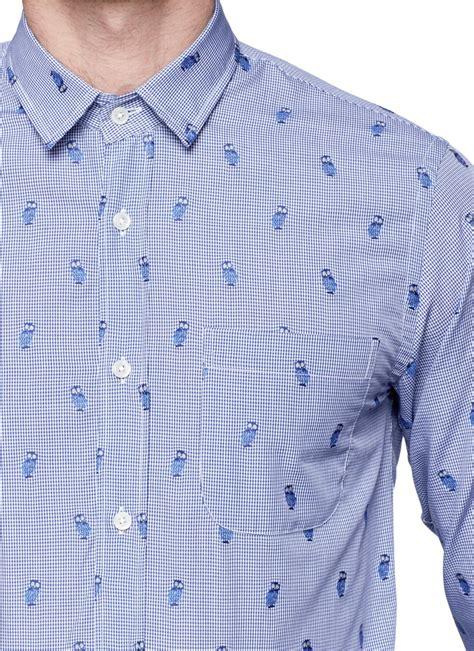 pattern cotton shirt mauro grifoni owl pattern cotton shirt in blue for men lyst