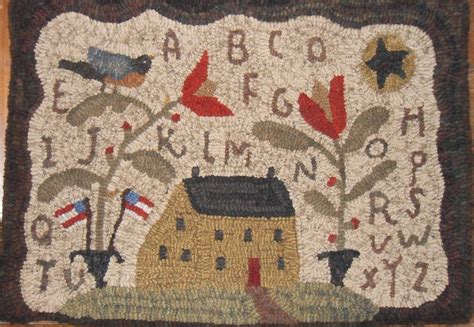 primitive hooked rugs primitive patrioticsaltbox bird hooked rug hooking plumruncreek prhg design rugs and
