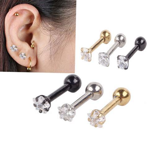 pair of crystal ls ls 1 pair surgical steel piercing crystal ear studs