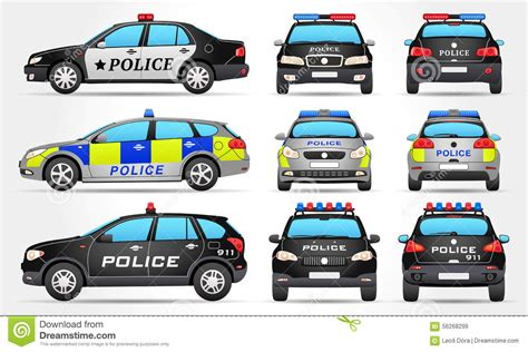 Avis Car Types Uk by Cars Side Front Back View Stock Vector
