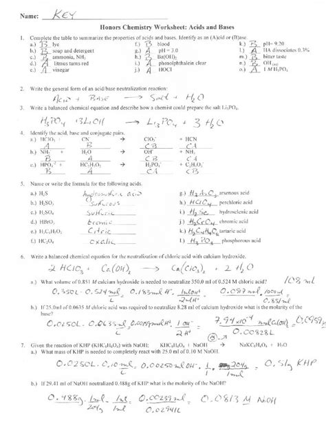 Introduction To Acids And Bases Worksheet Answers