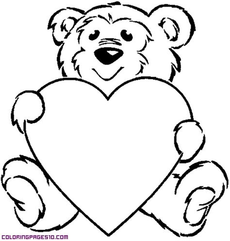 coloring pages of big hearts a bear with a big heart