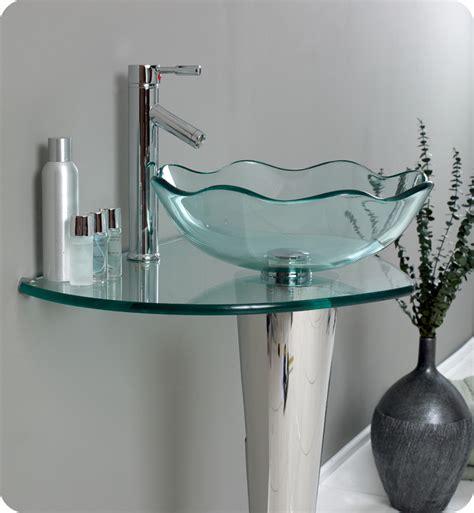 modern bathroom vanities with vessel sinks fresca netto modern glass bathroom vanity w wavy edge