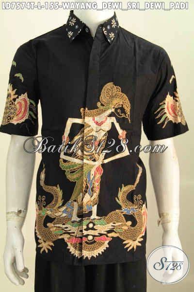 Kemeja Batik Lengan Pendek Warna Hitam Pekat Motif Classic kemeja batik warna hitam motif dewi sri baju batik tulis lengan pendek yang cocok buat santai