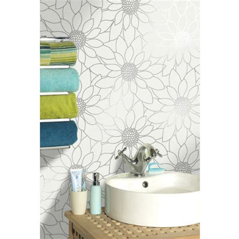 White And Silver Bathroom Accessories Holden Decor Louisa White Silver Bathroom Wallpaper Now
