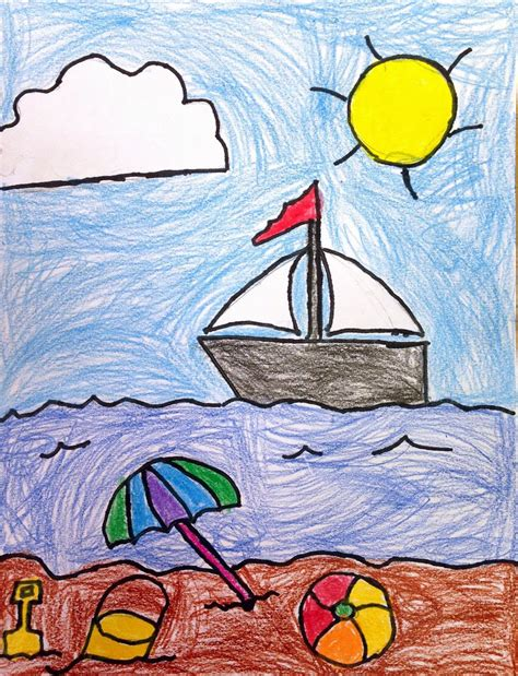 drawing crafts for projects for s seaside drawing
