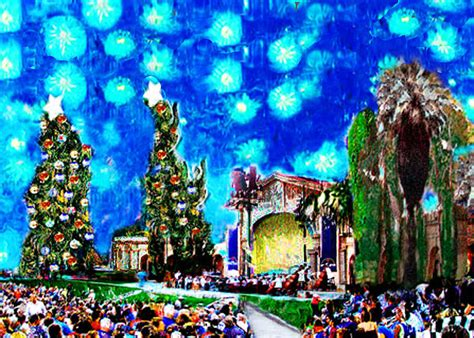 christmas in redlands ca at the redlands bowl painting by gretchenart fineart