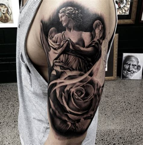 rose and angel sleeve tattoo and roses tattoos
