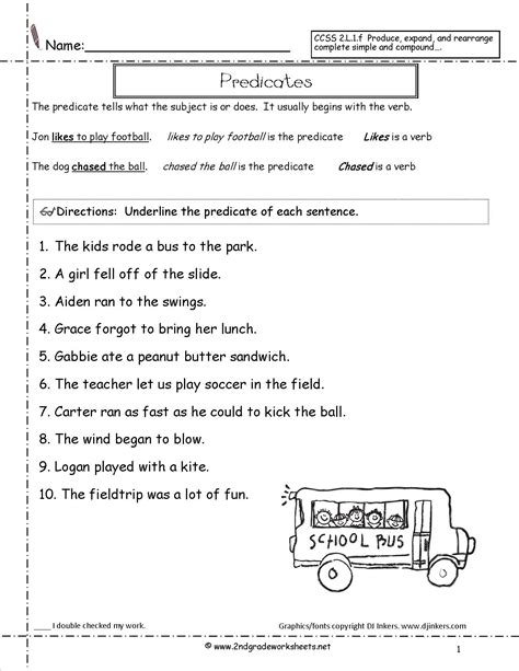 Subject And Predicate Worksheets by Second Grade Sentences Worksheets Ccss 2 L 1 F Worksheets