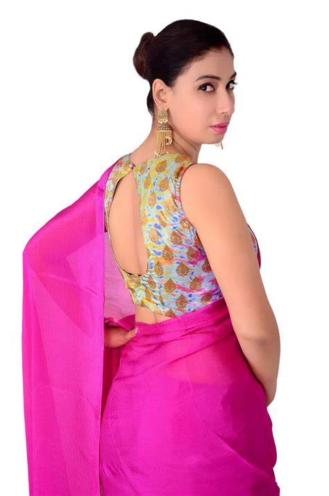Yellow Sapphire Blouse designer lehenga sarees shopping yellow saree with pink blouse