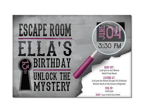 17 Best Images About Escape Room Party On Pinterest Maze Best Road Trips And Girl Birthday Free Escape Room Invitation Template